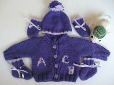 "Hand Knitted ""ABC"" Alphabet Themed Cardigan Set & Milly Mouse Toy"