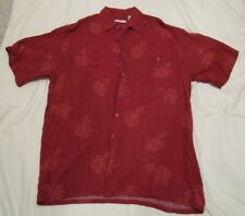 Mens Campia Moda Hawaiian Shirt Floral Red Rayon Button Up Short Sleeve Medium