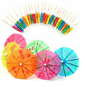 New Mixed Paper Cocktail Drink Umbrellas Parasols Picks Party Drinks
