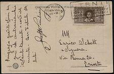 1934 - Cartolina resa franca con cent. 30 Dante Alighieri - Sassone n.307