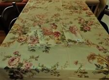RALPH LAUREN GARDEN SUSSEX  100% COTTON OVAL TABLECLOTH AND 5 NAPKINS