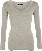 New Women's Plain V Neck Ladies Long Sleeve Stretch T-Shirt Top Size 16 18 20 22