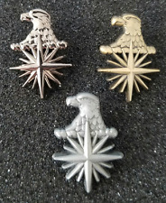 "Lot of 3 - CIA Eagle Head 3D Compass Star 1"" Tall Lapel pin / Tie Tack"