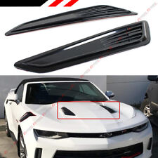 SS STYLE BLK BONNET HOOD VENT SCOOP COVERS FOR 2016-2020 CHEVY CAMARO 1LT LT RS
