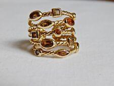 DAVID YURMAN 18K SOLID GOLD 5 ROW CABLE RING W/13 SEMI-PRECIOUS GEMSTONES