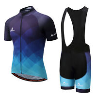 Blue Men's Cycling Kit Reflective Bike Jersey & Spandex Padded Biking Bib Shorts