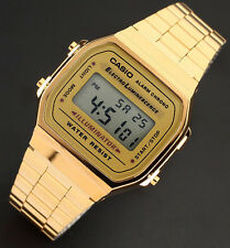 Casio A-168WG-9A Men's Gold Stainless Steel Digital Alarm Stopwatch Watch