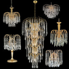 Searchlight Waterfall Gold and Crystal Lighting Range Chandeliers