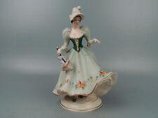 Vintage Royal Dux Porcelain Figure of a Young Woman in Bonnet With Parsol PC