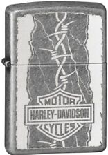 Zippo Harley Davidson Barb Wire Antique Silver Windproof Lighter 29560 NEW