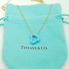 Tiffany&Co 18k Gold Peretti Blue Turquoise Carved Open Small Heart Necklace 16""