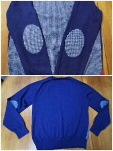 Pal Zileri Mens Sz L or 50 EUR Merino Wool Knit Sweater Pullover Italy Elbows
