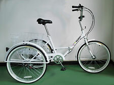"""ADULTS FOLDING TRICYCLE, 24"""" WHEELS, 6 SPD SHIMANO GEARS, WHITE, adult tricycle"""