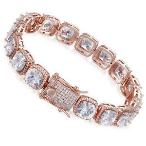 10mm 1 Row Diamond Cluster Bling Tennis Bracelet ANTI TARNISH for Men and Women
