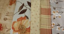 Orange Terracotta Designer Fabric Large Remnants Bundle Off Cuts Floral Check