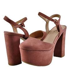 Women's Shoes Qupid Nala 01 Closed Toe Platform Chunky Heel Pump Mauve *New*