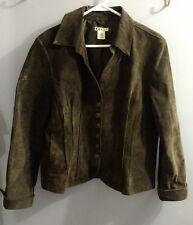 Vintage Rare Sleek Sexy Brown 100% Leather Slouch Button Blazer Jacket Size Lg