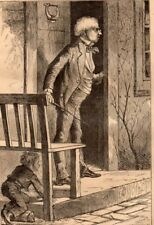Antique Victorian Art print engraving 1871 April Fools Boy hides from switch
