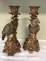 """VINTAGE PAIR DICK HSIAO PARROT GREEN/GOLD ANTIQUED 12"""" CANDLE HOLDERS"""