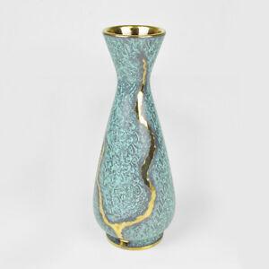 Vase West-Germany 130125 Goldrand 60er 70er / 24,8cm Vintage German Pottery WGP