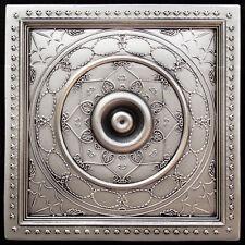 PVC Faux Tin Ceiling Tiles Drop In 24 x 24 D221 Antique Silver