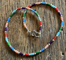 .925 Sterling Silver Red Blue Bead Silpada A1076 Multi Colored Ankle Bracelet