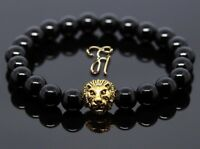 Onyx glänzend - goldfarbener Löwenkopf - Armband Bracelet Perlenarmband 8mm