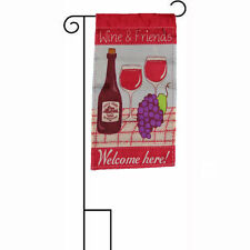 "12x18 Wine and Friends Welcome Here Sleeved w/ Garden Stand 12""x18"" Flag"