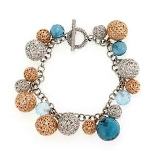 Roberto Coin Diamond Blue Topaz Bead 18k Gold Filigree Ball Charms Bracelet