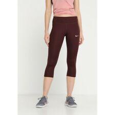Nike Women's Performance Essential Dryfit Burgundy Capri Gym Running Leggings M