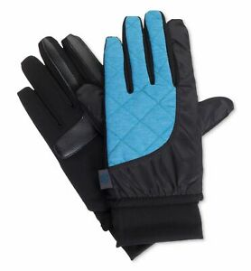 $165 Isotoner Men Blue Smartouch Touchscreen Active Thermal Winter Gloves Size L