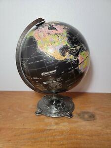 Vintage Reploge Globemaster 12 inch Globe Dark Black water Metal Base Art Deco