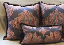 "Throw Pillow Made from Ralph Lauren Blue Paisley and Rabbit Fur Trim, 19"" sq"