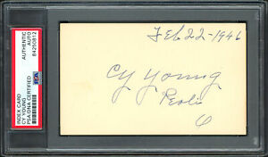 """Cy Young Autographed Signed 3x5 Index Card Dated """"Feb 22-1946"""" PSA/DNA #84250812"""