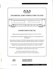Musical Fidelity A-3.5 Cd Player Owners Manual Copy 2005