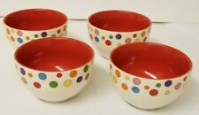 Avon Set Of 4 Ice Cream Bowls Cereal Soup Fruit * Colorful & Fun Polka dots