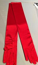 LADIES X LONG RED OVER ELBOW SATIN EVENING GLOVES  BEST QUALITY CLASSIC OPERA