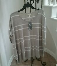 NWT Eileen Fisher Organic Cotton /Linen Scoop Neck Silver Top Blouse Size M $178