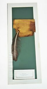 Leather Tobacco Pouch Replica American Native Weapon Mounted on Card Board