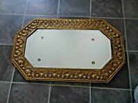 Antique Cast Embossed Brass Framed Octagonal Wall Mirror with Filigree Design