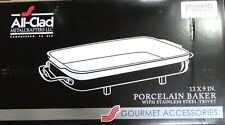 ALL-CLAD  RECTANGULAR PORCELAIN BAKER, STAINLESS STEEL STAND, NEW IN BOX