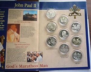2005 ORDER OF MALTA - OFFICIAL MINT BU 10 LIRA SET (9) - POPE JOHN PAUL II -RARE