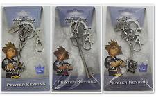 Disney Kingdom Hearts Key Chain Licensed Pewter Metal Key Ring NEW 3 Keychains
