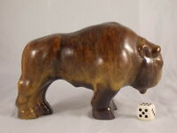 70er Keramik STIER Bulle Büffel mit Laufglasur Space Age Ära 17cm