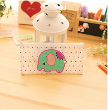 Green Elephant PVC Plastic See Through Cute Pencil Cases Cosmetics Make Up Bags