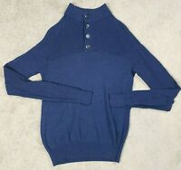 Peter Millar 4 Button Knit Sweater Adult S/M Blue Stretch Ribbed NO SIZE TAG Men