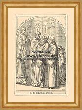 Heiliger Benedikt S. P. Benedictus Medaille St. Holzstich Sankt A4 1052