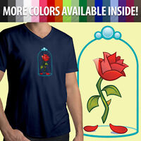 Beauty and the Beast Enchanted Rose Flower Disney Emoji Mens Unisex Tee T-Shirt