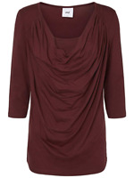 RRP £35 MAMALICIOUS COWL NECK T-SHIRT TOP Maternity Burgundy Red Jersey L 12-14