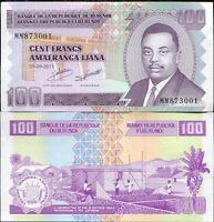 BURUNDI 100 FRANCS 2011 P 44 NEW SIGN UNC LOT 10 PCS